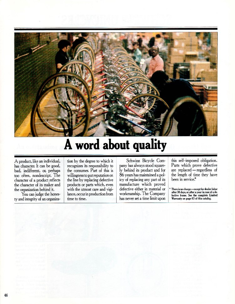 Schwinn 1981 Bicycles And Accessories -- A word about quality